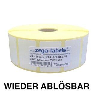 Thermo Etiketten auf Rolle ABLÖSBAR 2.100 Stück 57 x 32 mm