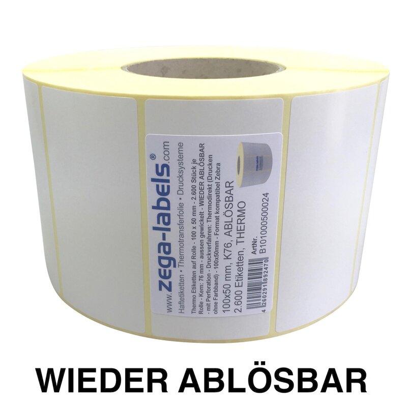 "300 Thermoetiketten 100 x 150 mm Thermo Top Papier ablösbar 1/"" Kern"