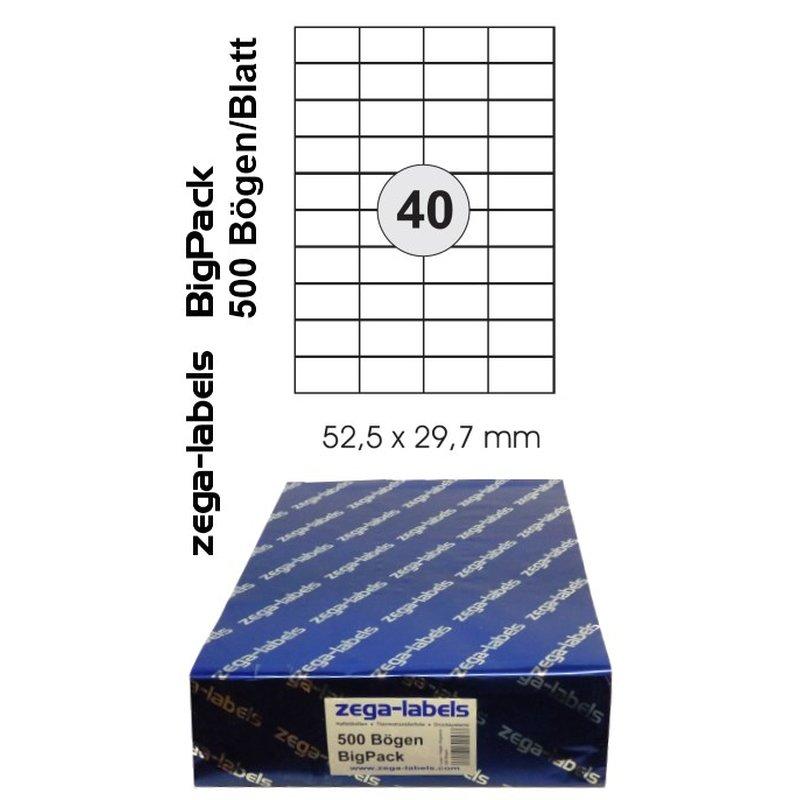 20.000 Etiketten 52,5 x 29,7 mm auf 500 DIN A4 Bögen 4x10 Etiketten Laser//Inkjet