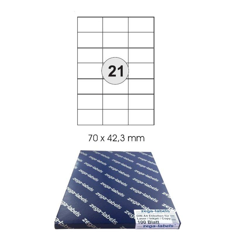 2100 Etiketten Größe 100 Blatt DIN A4 70x42,4
