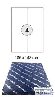 400 Etiketten 105 x 148 mm auf 100 DIN A4 Bogen Versandetiketten UPS DHL DPD GLS