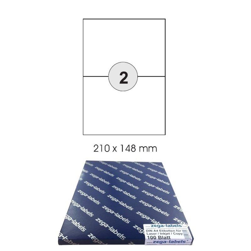 200 ETIKETTEN 210 x 148,4 mm 100 Blatt weiß Laser Inkjet Kopierer permanent