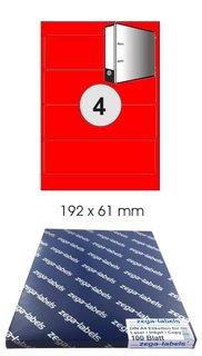 400 Ordnerrücken Etiketten 192 x 61 mm GRÜN auf 100 DIN A4 Bögen 1x4 Etiketten
