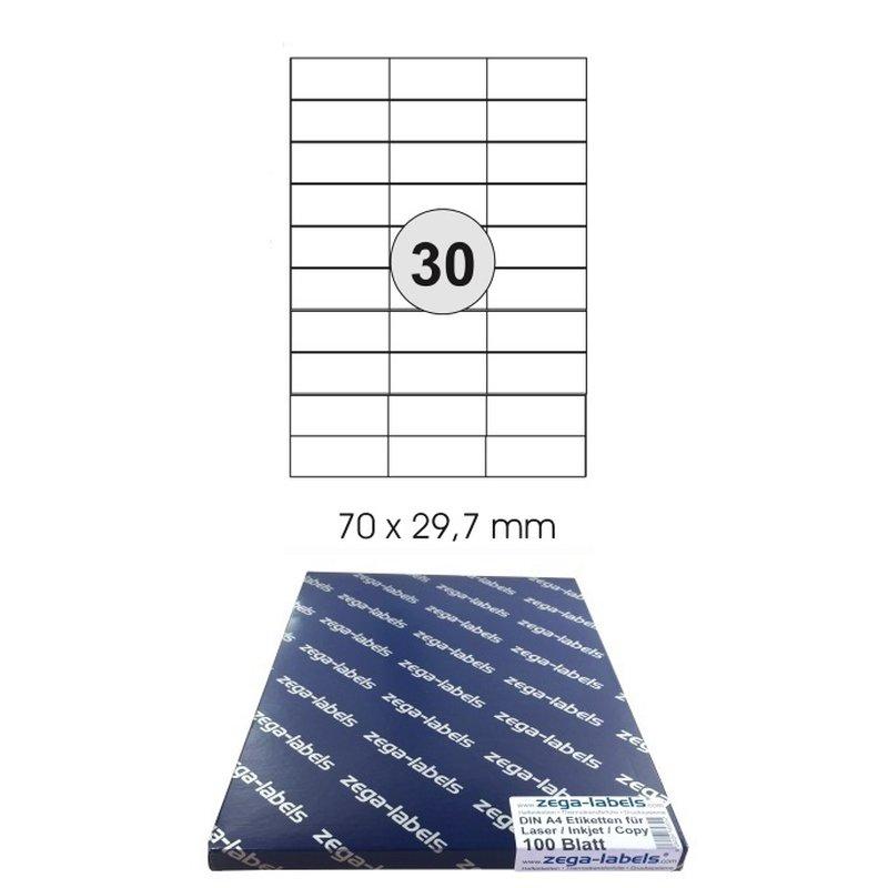Klebeetiketten DIN A4 weiß 70x29,7mm Laser Inkjet Kopierer 10 Blatt