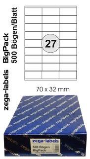 13.500 Etiketten 70 x 32 mm auf 500 DIN A4 Bögen 3x9 Etiketten Laser//Inkjet