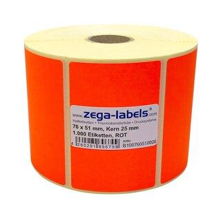 """Papier 3/"""" Rolle 75 x 50 mm ablösbar 1000 Thermotransfer Etiketten weiß"""